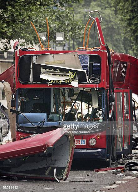 A view of the bus destroyed by a bomb in Woburn Place on July 8 2005 in London Up to 50 people were killed and 700 injured during morning rush hour...