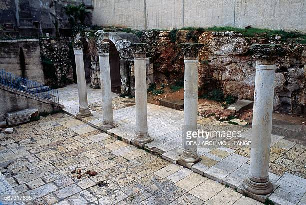 View of the Byzantine cardo with columns 6th century Old City of Jerusalem Israel