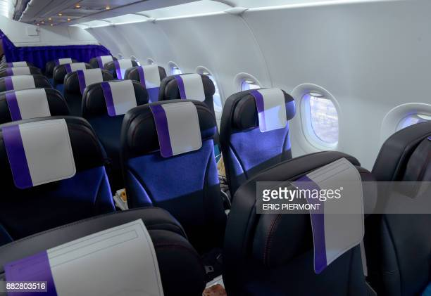 View of the cabin of a Joon Airbus A320 taken at the Air France Industries maintenance building in Roissy on November 30 on the eve of the first...