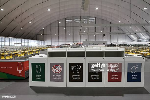 View of the cafeteria at the Olympic and Paralympic Village for the Rio Olympic Games in Rio de Janeiro, Brazil, on July 23, 2016. / AFP / YASUYOSHI...