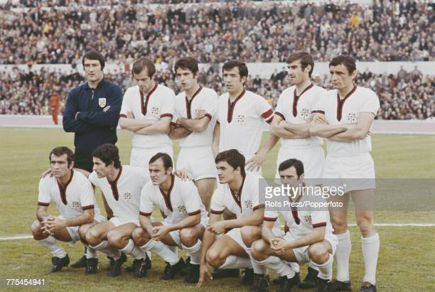 View of the Cagliari Calcio football team lined up on the pitch prior to a Serie A match in Italy during the 196970 Italian football season Cagliari...