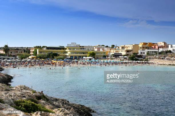 A view of the Cala Guitgia beach in Lampedusa on September 25 2018 Five years after the worst shipwreck of its history the largest island of the...