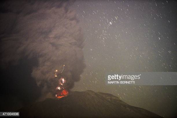 View of the Calbuco volcano from Puerto Varas, Chile on April 24, 2015. A large column of smoke streamed from Chile's Calbuco volcano Friday,...