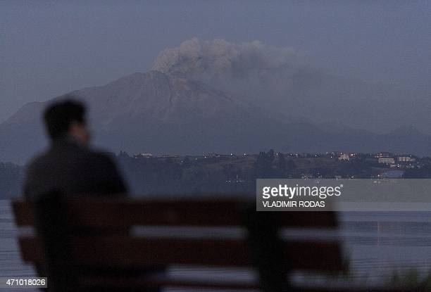 View of the Calbuco volcano from Puerto Varas on April 24, 2015. A large column of smoke streamed from Chile's Calbuco volcano Friday, prompting new...