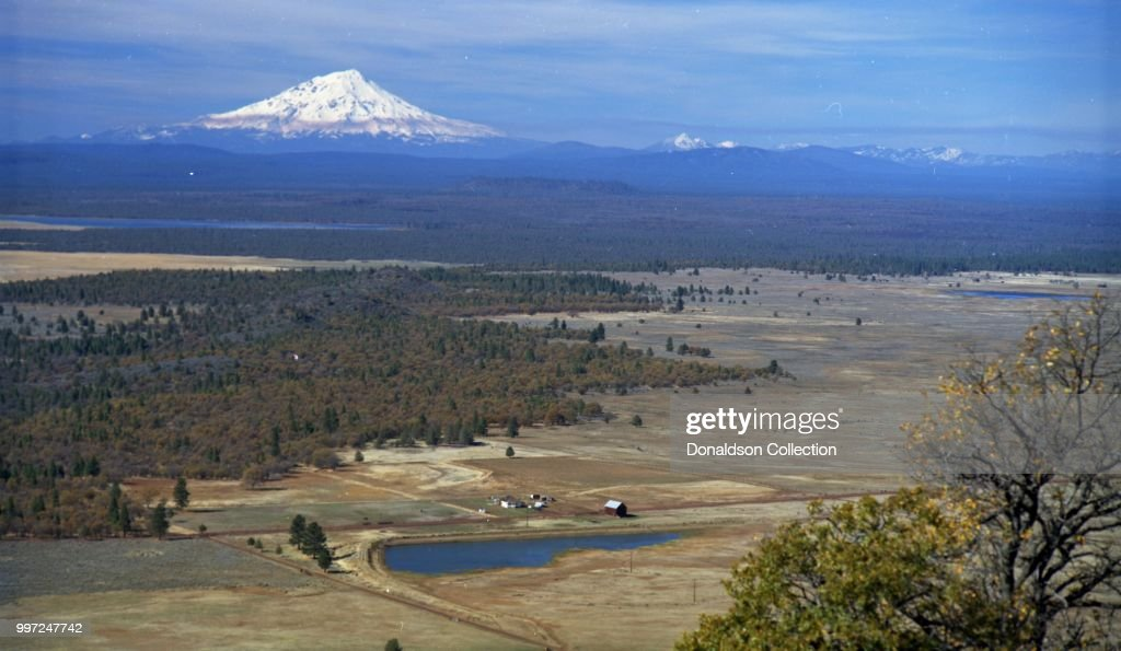a view of the california landscape with mt shasta in circa 1965 in