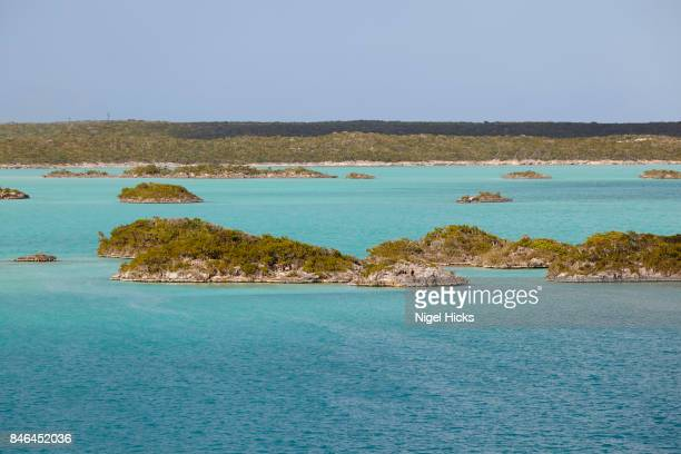 A view of the calm, sheltered and island-studded waters of Chalk Sound, on Providenciales, Turks and Caicos.