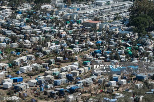 A view of the camp from above on March 12 2020 in Mytilene Greece The Moria Refugee Camp near Mytilene on the Island of Lesvos is extremely...