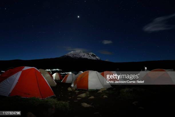 A view of the camp in the early hours of day 3 of 'Kilimanjaro The Return' for Red Nose Day on February 25 2019 in Arusha Tanzania All to raise funds...