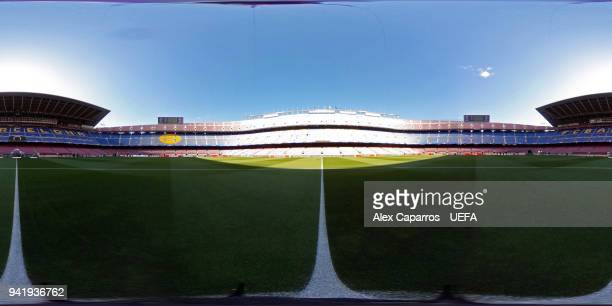 A 360 view of the Camp Nou stadium ahead of the UEFA Champions League Quarter Final Leg One match between FC Barcelona and AS Roma at Camp Nou on...