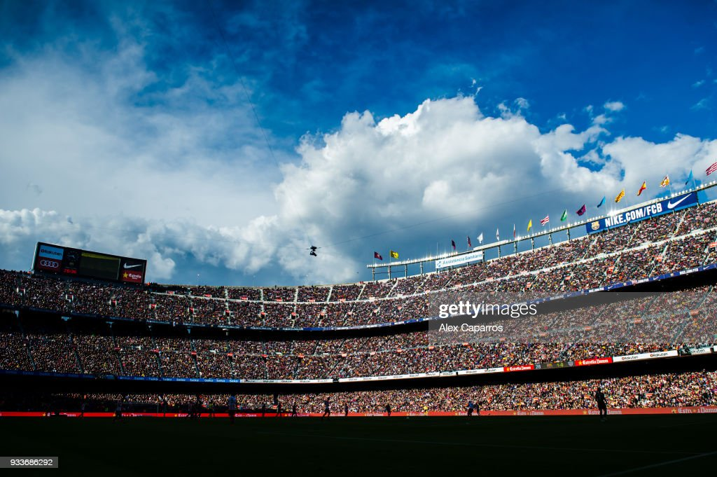 A view of the Camp Nou stadium during the La Liga match between Barcelona and Athletic Club at Camp Nou on March 18, 2018 in Barcelona, Spain.