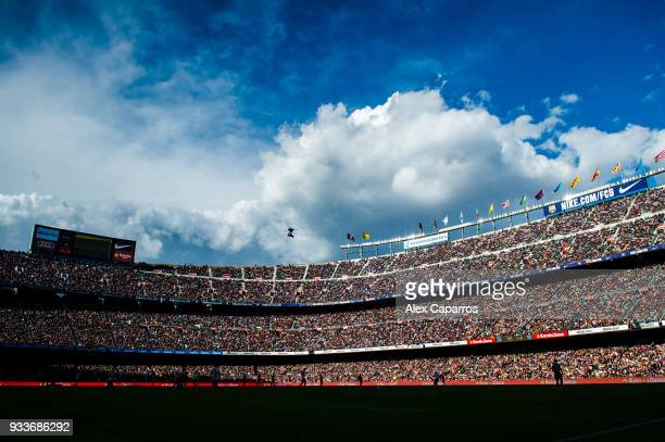 View of the Camp Nou stadium during the La Liga match between Barcelona and Athletic Club at Camp Nou on March 18, 2018 in Barcelona, Spain.
