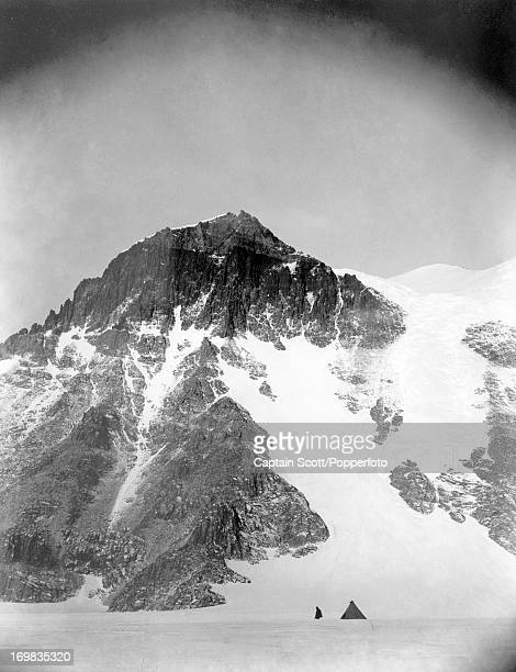 A view of the camp under Cathedral Rocks on the Ferrar Glacier photographed during the last tragic voyage to Antarctica by Captain Robert Falcon...