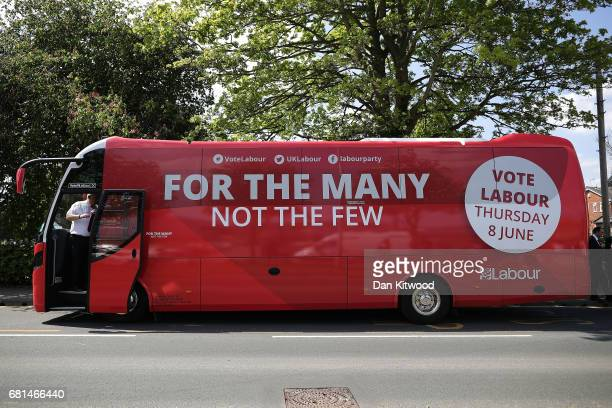 A view of the campaign bus as Leader of the Labour Party Jeremy Corbyn attends a rally at Garforth Leisure Centre on May 10 2017 in Garforth England...