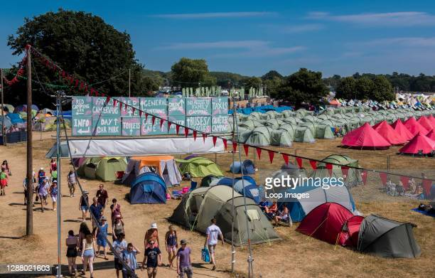 View of the camping area of the Latitude festival 2018 with Henham Park trees and fields all around taken from one of the security watch towers.