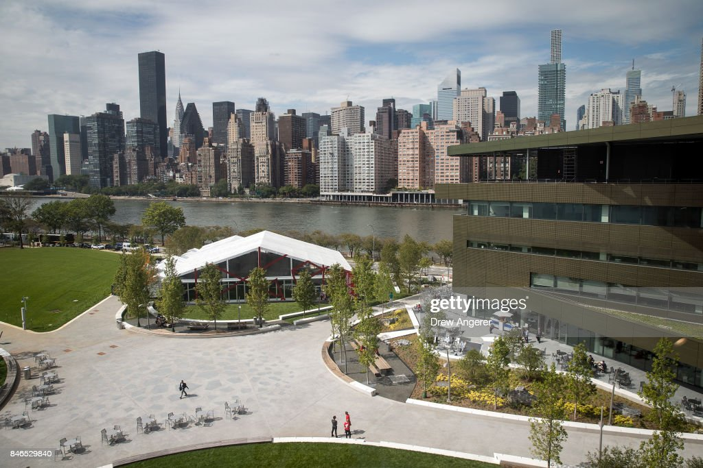 A view of the campus and the main academic building (R), the Bloomberg Center, on the new campus of Cornell Tech on Roosevelt Island, September 13, 2017 in New York City. Seven years ago, former New York City Mayor Michael Bloomberg created a competition that invited top universities to open an applied-science campus in New York City. Cornell Tech, an engineering and science campus of Cornell University, officially opened its doors on Wednesday.