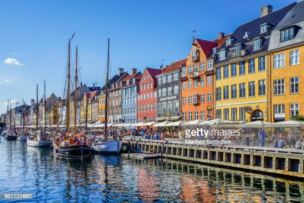 view of the canal harbour waterfront of Nyhaven Copenhagen, with brightly coloured townhouses, restaurants, cafes and historic wooden ships