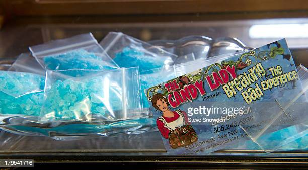 A view of The Candy Lady's Heisenberg 'Meth' rock candy on September 02 2013 in Albuquerque New Mexico The Candy Lady is merchandising a number of...