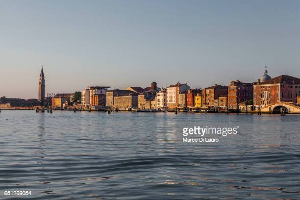 A view of the Cannaregio Fondamente Nove is seen from the ferry going to Burano Island on July 1 2015 in Venice Italy According to UNESCO Venice is...