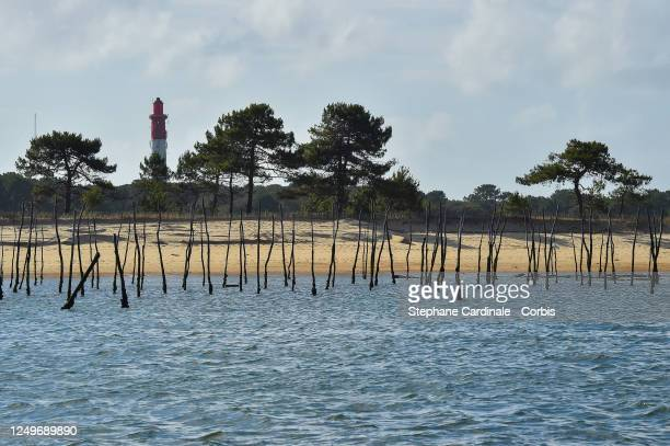 View of the Cap Ferret lighthouse and oyster farm on June 14 2020 in the CapFerret France