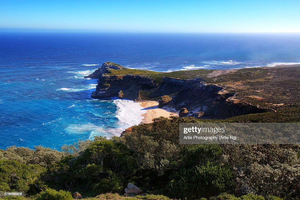 View of the Cape of Good Hope From the Coastal Cliffs Above Cape Point Overlooking Dias Beach, Cape Peninsula, South Africa : Stock Photo