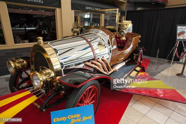 View of the car from the movie 'Chitty Chitty Bang Bang' at The Chocolate Expo held at the Garden State Plaza Mall Paramus New Jersey January 2019