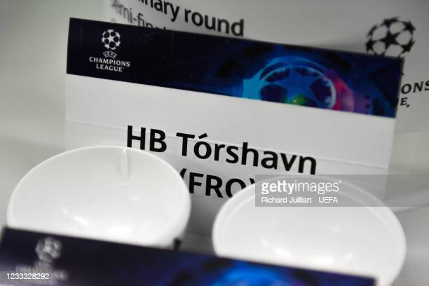 View of the card HB Tórshavn ahead of the UEFA Champions League 2021/22 Preliminary Round draw at the UEFA headquarters, The House of European...