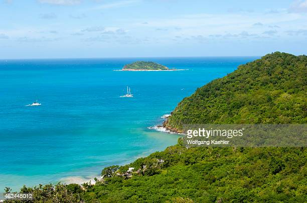 View of the Caribbean Sea from Mayreau Island, a small island in the Grenadines in the Caribbean.