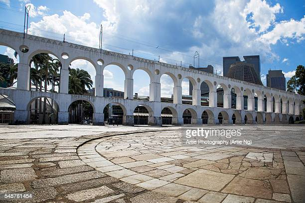View of the Carioca Aqueduct (Arcos da Lapa) and the Metropolitan Cathedral of Saint Sebastian in the Background, Lapa, City of Rio de Janeiro, Brazil, South America