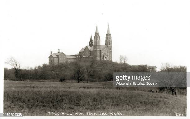 View of the Carmelite monastery on Holy Hill from the west, Hartford, Wisconsin, 1920.