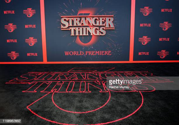 """View of the carpet during the """"Stranger Things"""" Season 3 World Premiere on June 28, 2019 in Santa Monica, California."""