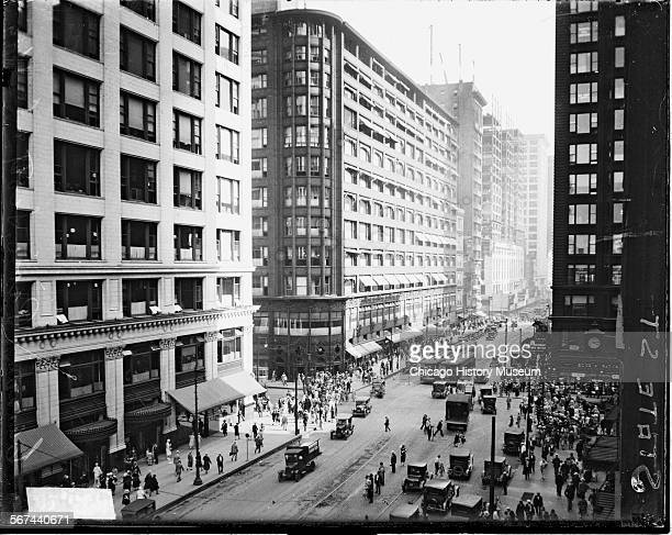 View of the Carson Pirie Scott and Company department store located on State Street in the Loop community area Chicago Illinois 1926 The view is...