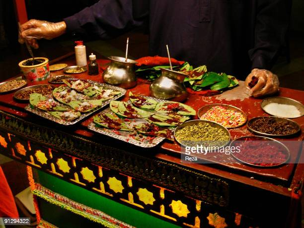 View of the cart of a street seller September 2006 in Sehwan Sharif Pakistan The product is Paan a type of digestive which consists of fillings...