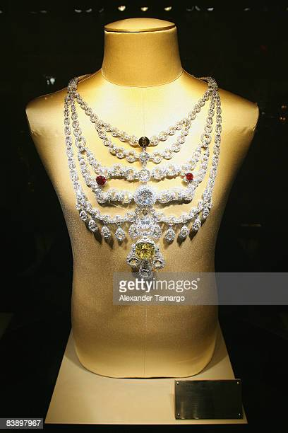 View of the Cartier Patiala necklace at a private dinner in honor of Anri Sala at the Cartier Dome Miami Beach Botanical Garden on December 2 2008 in...