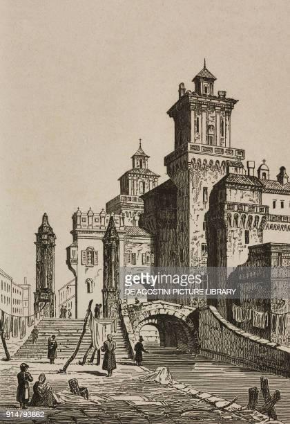 View of the Castello Estense Ferrara EmiliaRomagna Italy engraving from Italie by AlexisFrancois Artaud de Montor Sicilie by Gigault de La Salle...