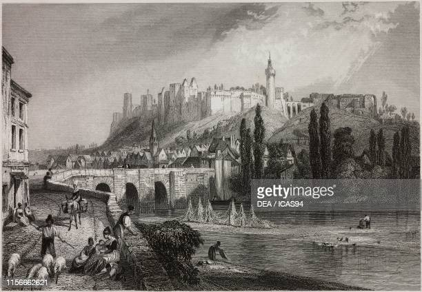 View of the Castle of Chinon France engraving from a drawing by Rouargue Freres from La Loire historique pittoresque et biographique by Georges...