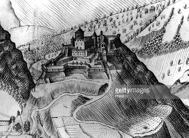 View of the castle of Exilles in the Suze Valley where the Man in the Iron Mask was imprisoned 17th century Italy