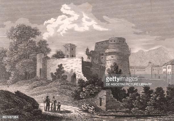 View of the Castle of Lavenza in Carrara Tuscany Italy steel engraving 113x8 cm from L'Italia la Sicilia le isole Eolie l'isola d'Elba la Sardegna...