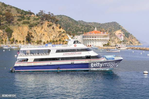 View of the Catalina Island Harbor, Southern California, Excursion Ship In The Foreground