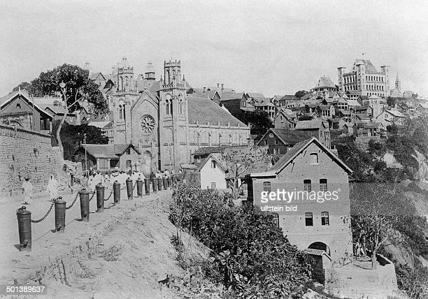 View of the cathedral and the Rova of Antananarivo - undated, probably in the 1910's