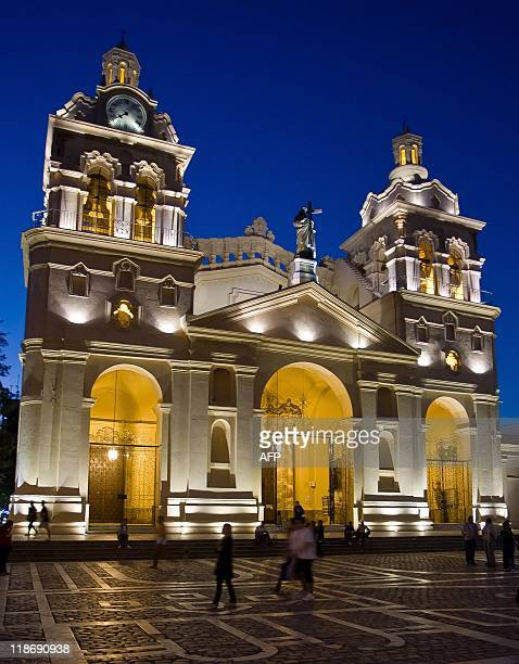 View of the Cathedral at dusk in Cordoba some 720 Km northwest of Buenos Aires on March 29 2011 Cordoba will host the Copa America from July 1 to...