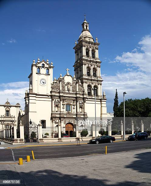 view of the cathedral in downtown monterrey mexico - nuevo leon state stock pictures, royalty-free photos & images