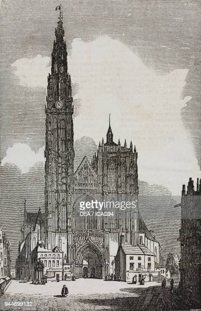 View of the cathedral of Antwerp Belgium illustration from Teatro universale Raccolta enciclopedica e scenografica No 77 December 19 1835