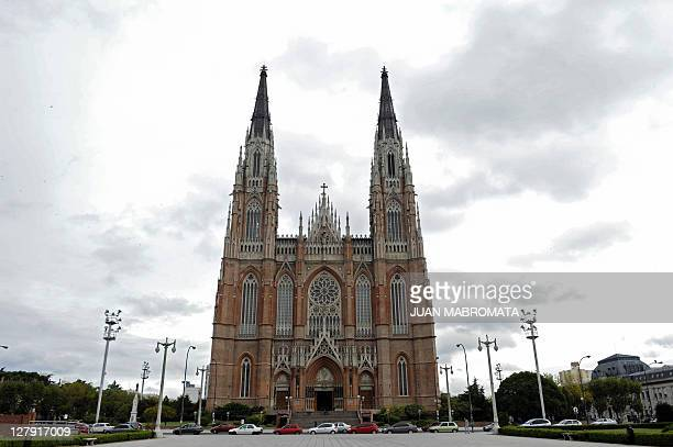 View of the Cathedral of La Plata, some 62 Km south of Buenos Aires on April 20, 2011. La Plata's city will host the Copa America to be held from...