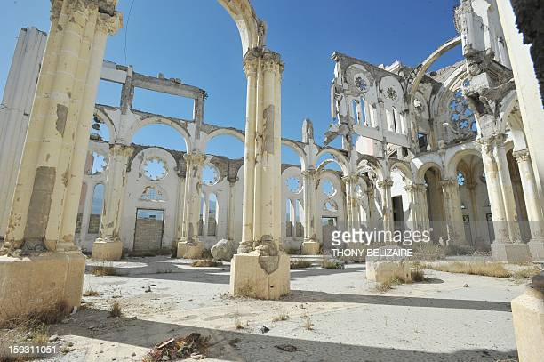 View of the cathedral of PortauPrince destroyed in the 2010 earthquake on January 11 2013 Three years after Haiti was devastated by a massive...