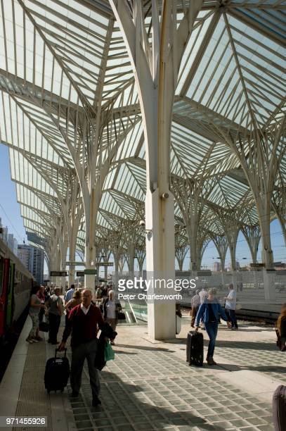 A view of the cathedrallike roof of Lisbon Oriente Station or the Gare do Oriente which was designed by Spanish architect Santiago Calatrava