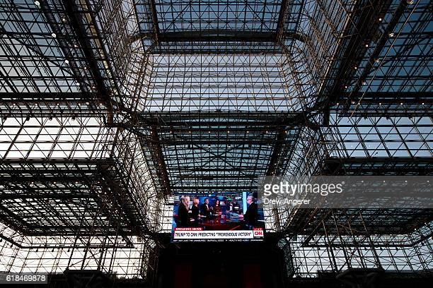 View of the ceiling inside the Jacob K. Javits Convention Center, where Democratic presidential candidate Hillary Clinton is scheduled to attend an...