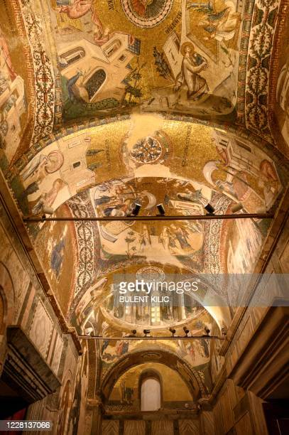 View of the ceiling of the Chora or Kariye Museum, formally the Church of the Holy Saviour, a medieval Byzantine Greek Orthodox church, decorated...