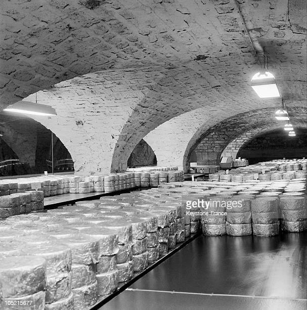 View Of The Cellars Where The Cheeses Are Piled On Soulzon Roquefort In The Aveyron In 1966The Village Celebrates The Tercentenary Of The...