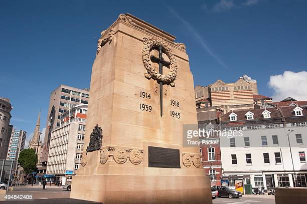 A view of The Cenotaph in the centre of Bristol a city in the southwest of England Made of Shelly Limestone Ashlar the front face shows the Sword of...