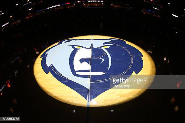 View of the center court logo of the Memphis Grizzlies in the game against the Los Angeles Lakers on December 3, 2016 at FedExForum in Memphis,...